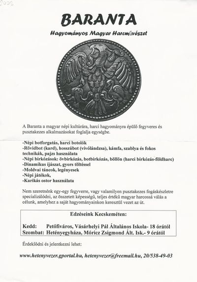 Hagyományos magyar harcművészet, baranta edzések a Vásárhelyi Pál Általános Iskolában és a Móricz Zsigmond Általános Iskolában