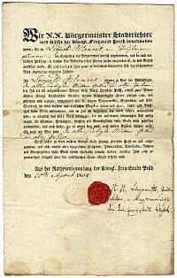 Klement Lipót polgárlevele, 1834