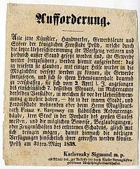 Felhívás a pesti iparosokhoz és kereskedőkhöz az árvíz miatt, 1838
