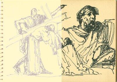 Jézus cipeli a keresztet vázlat