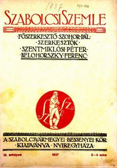 Szabolcsi Szemle 1937 3 4