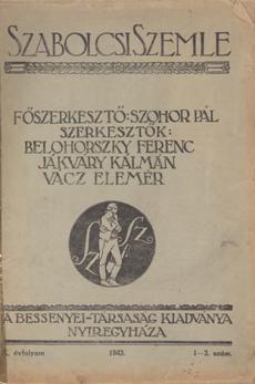 Szabolcsi Szemle 1943 1 3