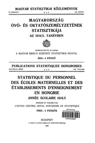Magyarország óvó- és oktatószemélyzetének statisztikája az 1934/5. tanévben