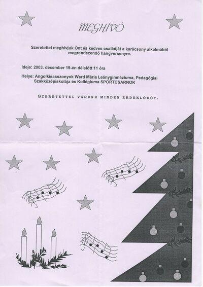 Meghívó karácsonyi hangversenyre az Angolkisasszonyok Ward Mária Leánygimnáziuma, Pedagógiai Szakközépiskolája és Kollégiuma Sportcsarnokába