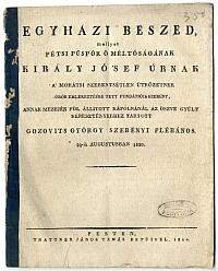 Egyházi beszéd a Király József által alapított mohácsi kápolnánál, Gozovits György, 1820