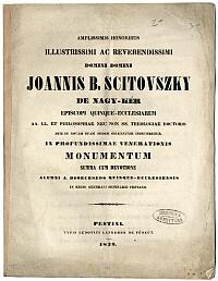 Emlékvers Scitovszky B. János pécsi püspök tiszteletére, 1839