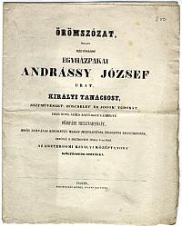 Örömszózat Andrássy József királyi tanácsos esztergomi látogatása alkalmából, 1845