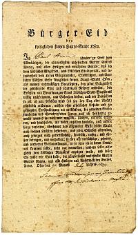 Sturm Pál polgárlevele, Buda, 1824