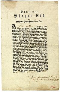 Lechner Péter budai polgáresküjének szöveg, 1809