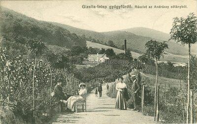 Visegrád. Gizella-telep gyógyfürdő, részlet az Andrássy sétányból
