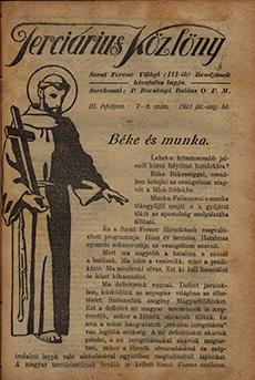 Terciárius Közlöny 1923. július-augusztus