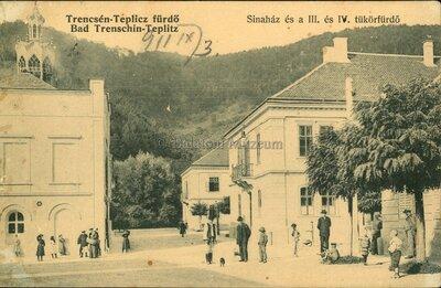 Trencsénteplic-Fürdő - Bad Trenschin-Teplitz. Sina ház és a III. és IV. tükörfürdő.