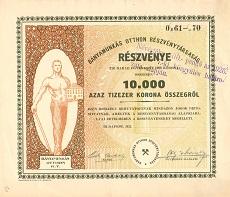 A Bányamunkás Otthon Rt. összevont részvénye 10000 korona értékben