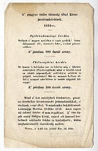 A Magyar Tudós Társaság hirdetménye, 1834
