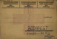 Levelezőlap az átmeneti gyűjtőtáborból