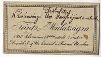 Meghívó táncmulatságra Karácsonyi gróféknak, 1820