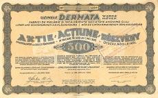 A Dermata Művek Bőr- és Cipőgyárak Rt. részvénye 500 leiről