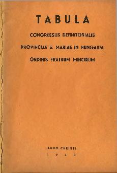 Tabula congressus definitorialis provinciae S. Mariae in Hungaria