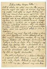 Balogh István színész-színigazgató levele lányához, 1867