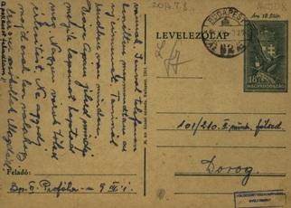 Munkaszolgálatos levelezőlap