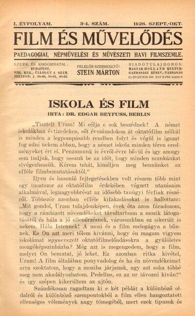 Film és művelődés 1926 I. évfolyam 3-4. szám