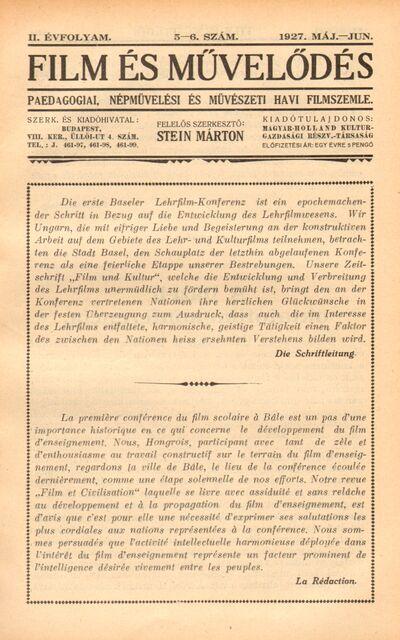 Film és művelődés 1927 II. évfolyam 5-6. szám