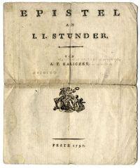 Haliczky András Frigyes: Levél Stunder János Jakabhoz, költemény, 1797