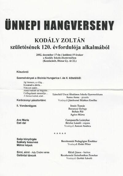 Ünnepi hangverseny Kodály Zoltán születésének 120. évfordulóján