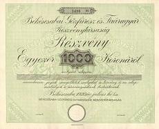 A Békéscsabai Gőzfűrész- és Faárugyár Rt. részvénye 1000 koronáról