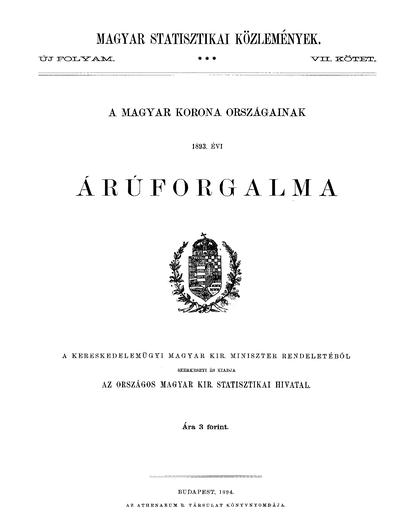 A Magyar Korona országainak 1893. évi áruforgalma