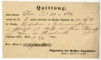 Számla a Pesther Tageblatt-ban elhelyezett hirdetésről, 1842