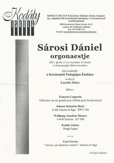 Sárosi Dániel orgonaestje
