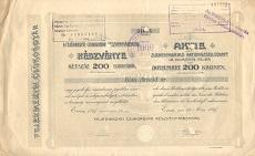 A Fejérmegyei Czukorgyár Rt. részvénye 200 koronáról