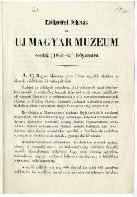 Előfizetési felhívás az Uj Magyar Muzeum ötödik évfolyamára, Heckenast, 1854