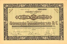 A Háromszéki Takarékpénztár Rt. összevont részvénye 500 pengőről