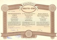 Az ISOLYTH-STM Üveggyapot Rt. részvénye 10000 forint értékben