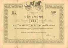 A Magyar Kocsigyár Rt. részvénye 100 koronáról