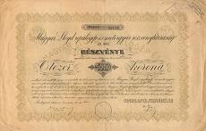 A Magyar Lloyd Repülőgép- és Motorgyár Rt. összevont részvénye 5000 korona értékben