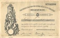 A Magyarországi Tanítók Bankja Rt. részvénye 100 koronáról