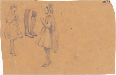 2 imádkozó női alak, 2 láb