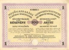 A Mezőgazdasági- és Kémiai Ipartelepek Rt. részvénye 100 pengőről