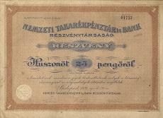 A Nemzeti Takarékpénztár és Bank Rt. részvénye 25 pengőről