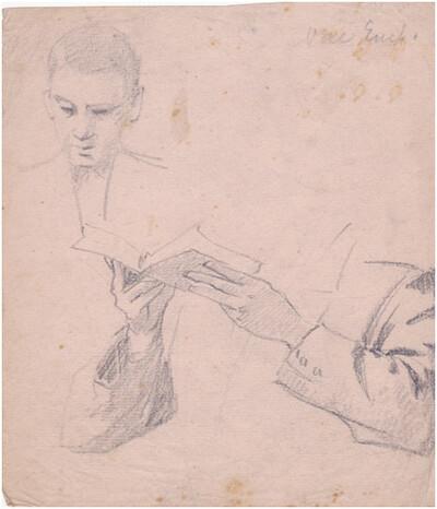 Arc, könyvet tartó kezek