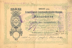 A Rimaszombati Conservgyár Rt. részvénye 100 koronáról