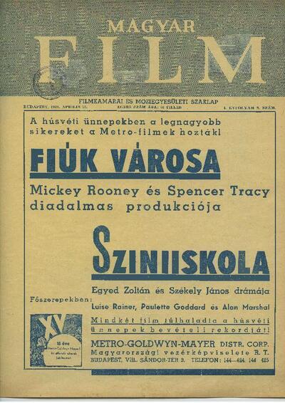 Magyar Film 1939-es év, I. évfolyam 9. szám