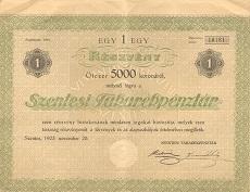 A Szentesi Takarékpénztár részvénye 5000 koronáról