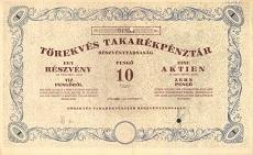 A Törekvés Takarékpénztár Rt. részvénye 10 pengőről