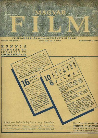 Magyar Film 1939-es I. évfolyam 18. szám