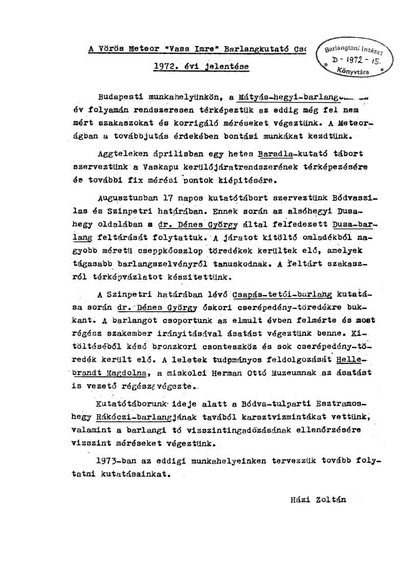 A Vörös Meteor Vass Imre Barlangkutató Csoport 1972. évi kutatási jelentése