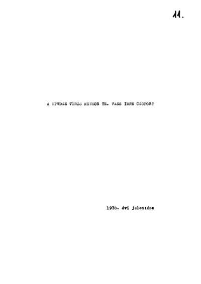 A KPVDSZ Vörös Meteor T.E. Vass Imre Csoport 1978. évi jelentése